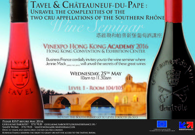 A wine seminar about Tavel and Châteauneuf-du-Pape will take place during Vinexpo Hong-Kong